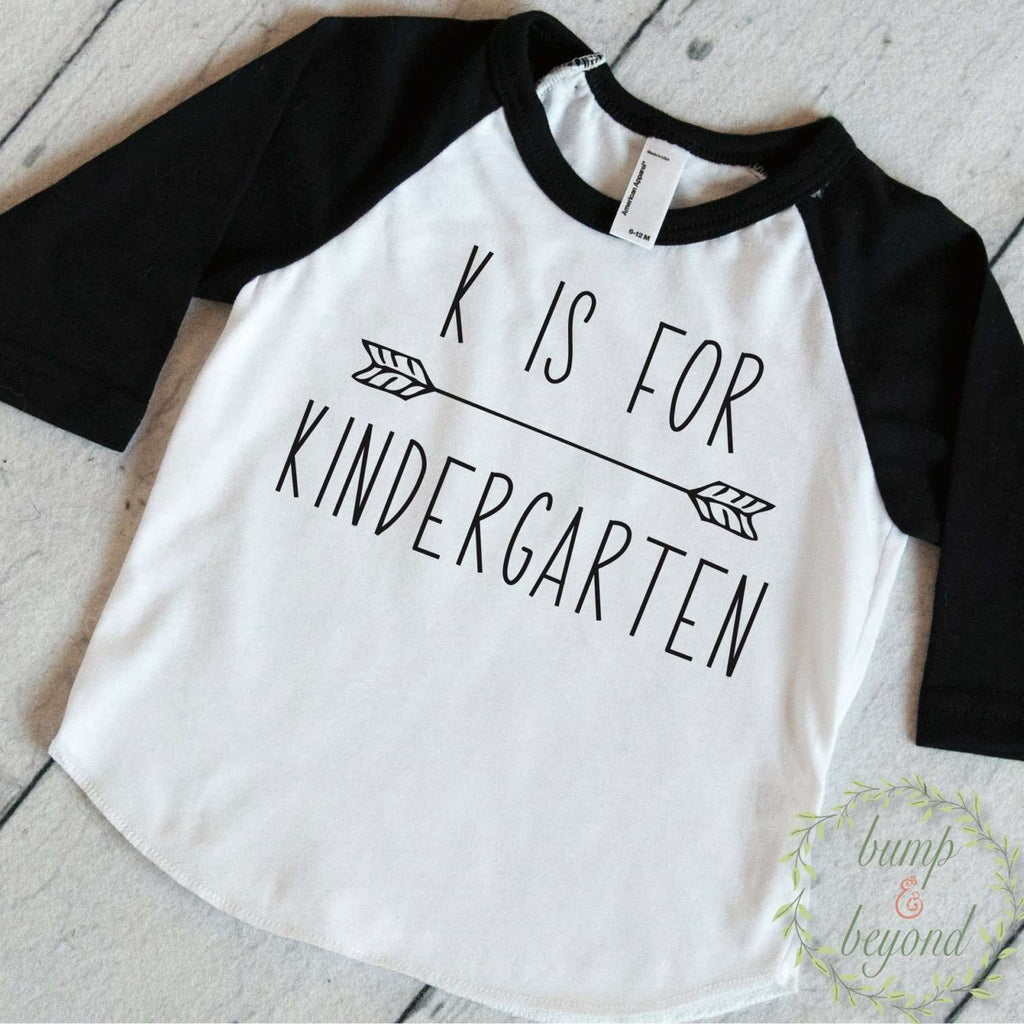 First Day of Kindergarten Outfit, Kindergarten Shirt, K is For Kindergarten, Back to School Outfit, 1st Day of Kindergarten Shirt 261 - Bump and Beyond Designs