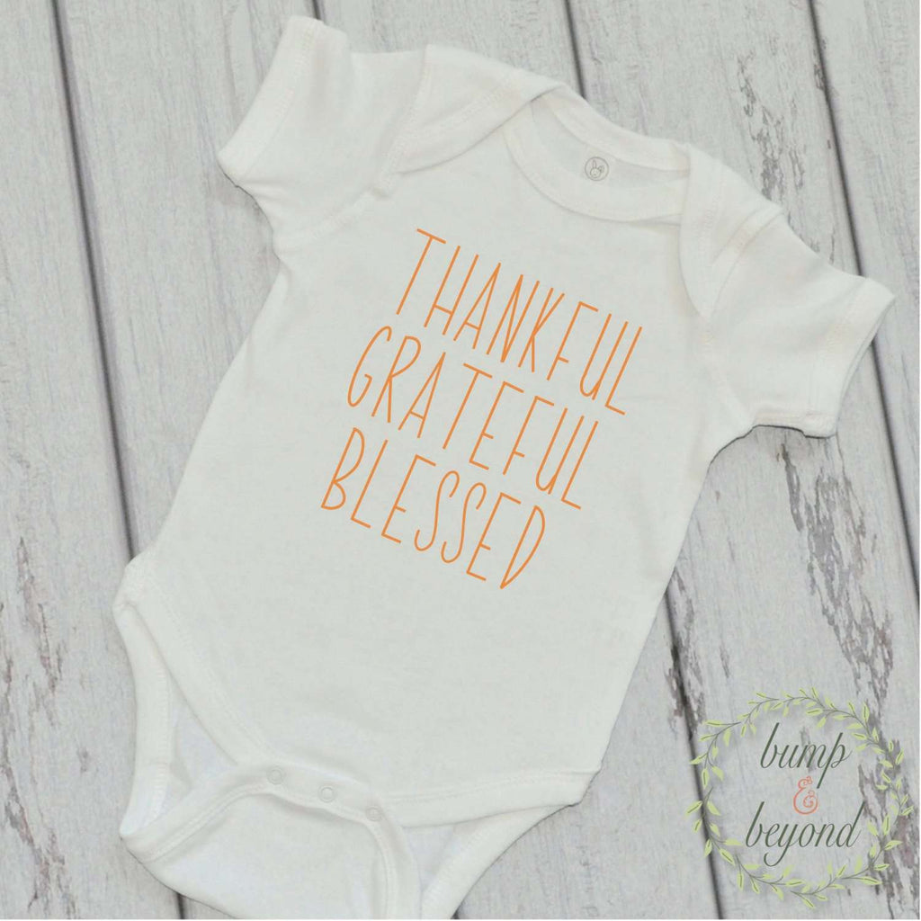 Baby Thanksgiving Outfit Thankful Grateful Blessed Baby Boy Baby Girl Thanksgiving Outfit Baby's First Thanksgiving My First Thanksgiving 05 - Bump and Beyond Designs