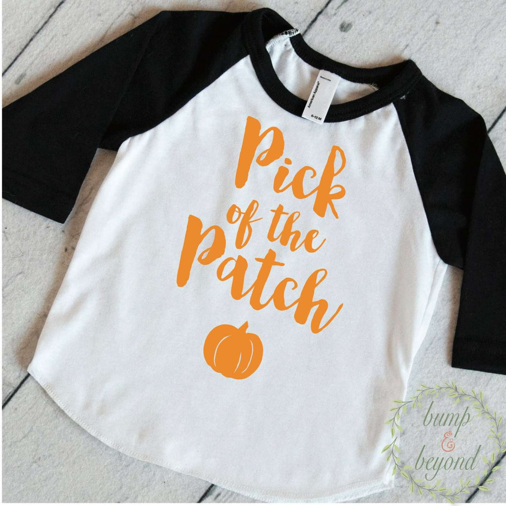 First Halloween Outfit, Pick of the Patch, Baby Girl Halloween Outfit, Halloween Baby Girl Outfit, Halloween Shirt for Girls 017 - Bump and Beyond Designs