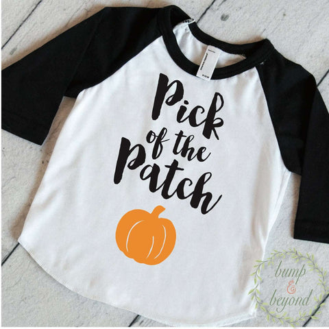 1st Halloween Shirt, Pick of the Patch, Halloween Shirt for Boys and Girls, Halloween Baby Outfit, Baby Halloween Clothes for Kids 018 - Bump and Beyond Designs