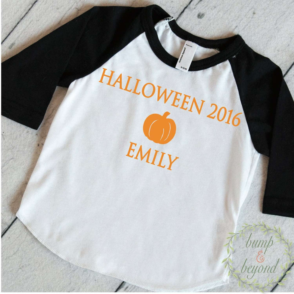 Personalized Halloween Shirt, Boy Halloween Outfit, Baby Halloween Shirt, Halloween Baby Girl Outfit, Halloween Outfit Girls 021 - Bump and Beyond Designs