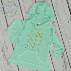 3rd Birthday Hoodie, Young Wild & Three - Bump and Beyond Designs