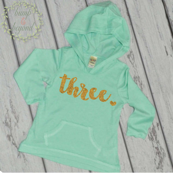 Third Birthday Shirt Girl Three Year Old Birthday Outfit Girl 3rd Birthday Shirt Girl 3rd Birthday Girl Hoodie 102 - Bump and Beyond Designs