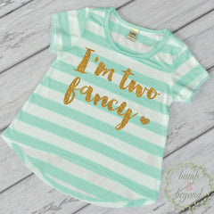 Second Birthday Outfit Girl, I'm Two Fancy Gold 2nd Birthday Shirt Two Year Old Birthday Girl Outfit 137 - Bump and Beyond Designs