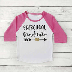 Preschool Graduate Shirt Girl Preschool Graduation Shirt Last Day of School Photo Prop Pink and Gold Graduation Gift 294