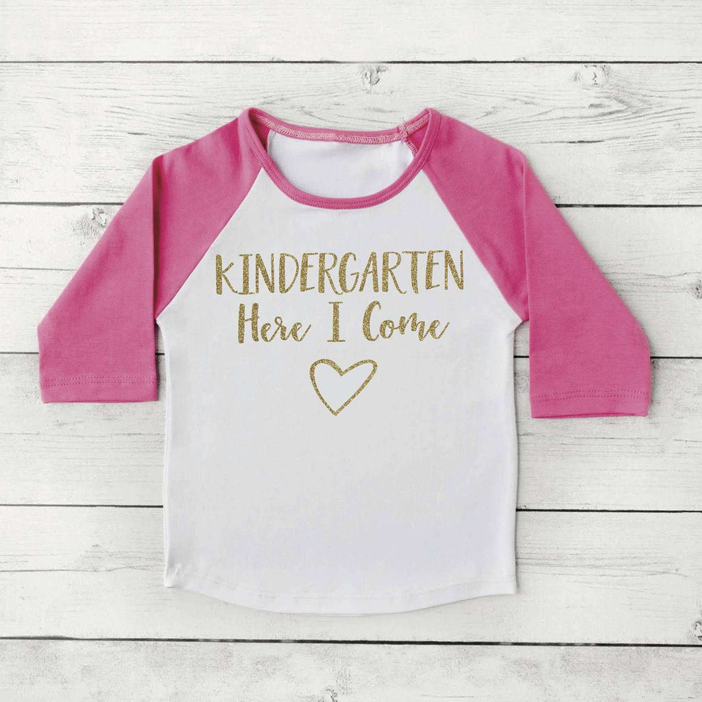 First Day of Kindergarten Shirt, Girl Back to School Clothes 1st Day of School Photo Prop Kindergarten Outfit for Girls in Pink and Gold 315 - Bump and Beyond Designs
