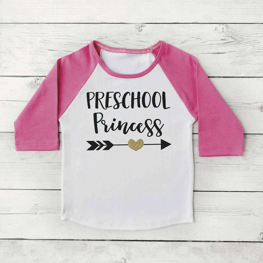 First Day of Preschool Shirt, Girl Back to School Clothes 1st Day of School Photo Prop, Preschool Princess 305