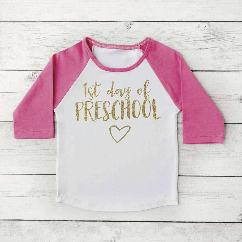 Pink and Gold 1st Day of Preschool Shirt, Back to School Clothes for Girls, 1st Day of School Photo Prop 308 - Bump and Beyond Designs