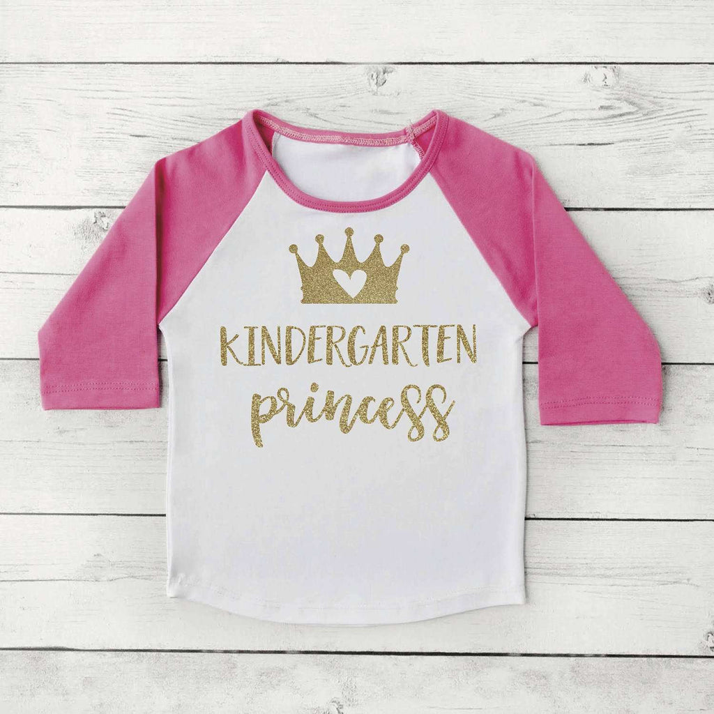 Kindergarten Shirt, Kindergarten Princess Girl First Day of School Photo Prop Pink and Gold 1st Day of Kindergarten Shirt 302 - Bump and Beyond Designs