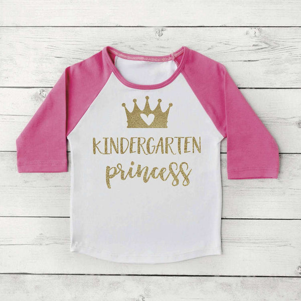 Kindergarten Shirt, Kindergarten Princess Girl First Day of School Photo Prop Pink and Gold 1st Day of Kindergarten Shirt 302