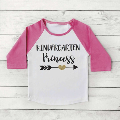 1st Day of Kindergarten Shirt, Girl 1st Day of School Photo Prop My 1st Day of Kindergarten Shirt Pink and Gold Raglan 306