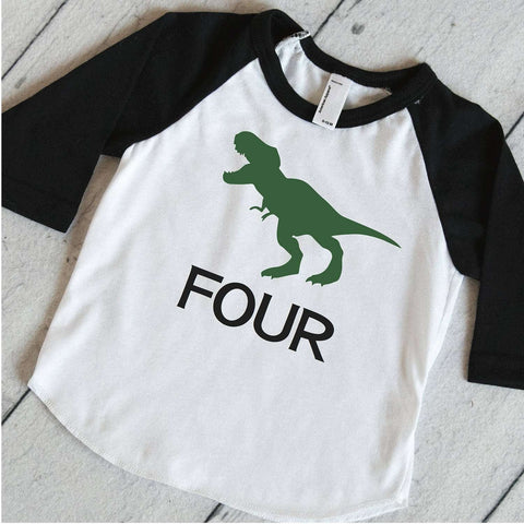 Dino Raglan Shirt T-Rex Shirt, Dino Birthday Shirt, 4th Birthday Shirt, Boys Birthday Shirt, Dinosaur 4th Birthday Party Shirt 317