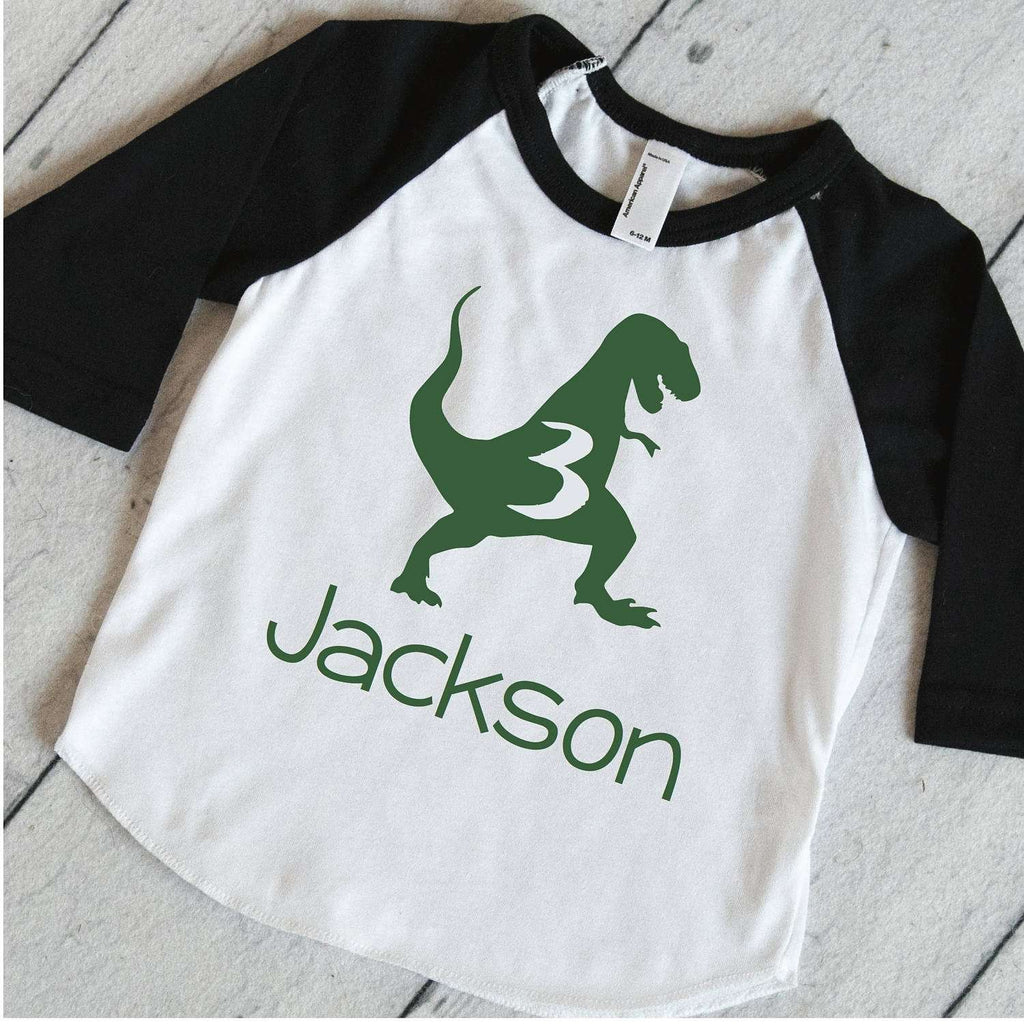 Third Birthday Shirt for Boys, Personalized Dino Birthday Shirt, T-Rex Birthday Outfit, Dinosaur Birthday Party Shirt 323 - Bump and Beyond Designs