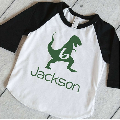 Dinosaur Birthday Party Shirt, Boys Personalized Birthday T-Rex Shirt, Dinosaur Birthday Shirt, 6th Birthday Shirt, Dino Sixth Birthday 323