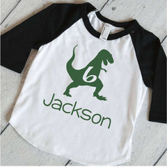 Dinosaur Birthday Party Shirt, Boys Personalized Birthday T-Rex Shirt, Dinosaur Birthday Shirt, 6th Birthday Shirt, Dino Sixth Birthday 323 - Bump and Beyond Designs