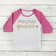 Preschool Graduate Shirt Preschool Graduation Shirt Girl Preschool Graduation Announcement Photo Prop Pink and Gold 188