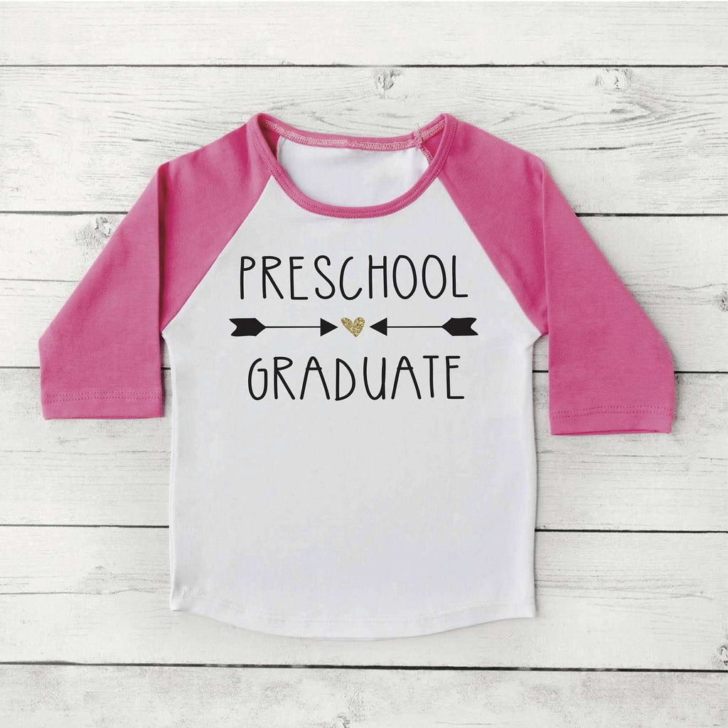 Preschool Graduation Shirt Girl Preschool Graduate Shirt Last Day of School Photo Prop Pink and Gold Graduation Gift 295
