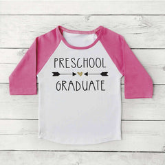Preschool Graduation Shirt Girl Preschool Graduate Shirt Last Day of School Photo Prop Pink and Gold Graduation Gift 295 - Bump and Beyond Designs