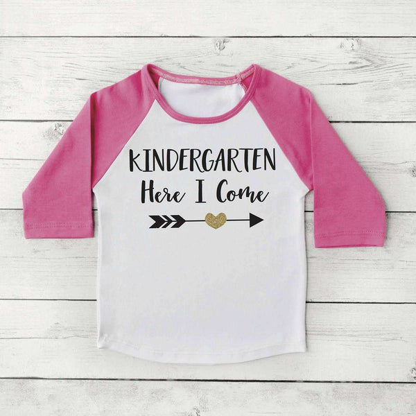 Back to School Shirt, Kindergarten Here I Come Shirt Girl First Day of School Photo Prop 298 - Bump and Beyond Designs