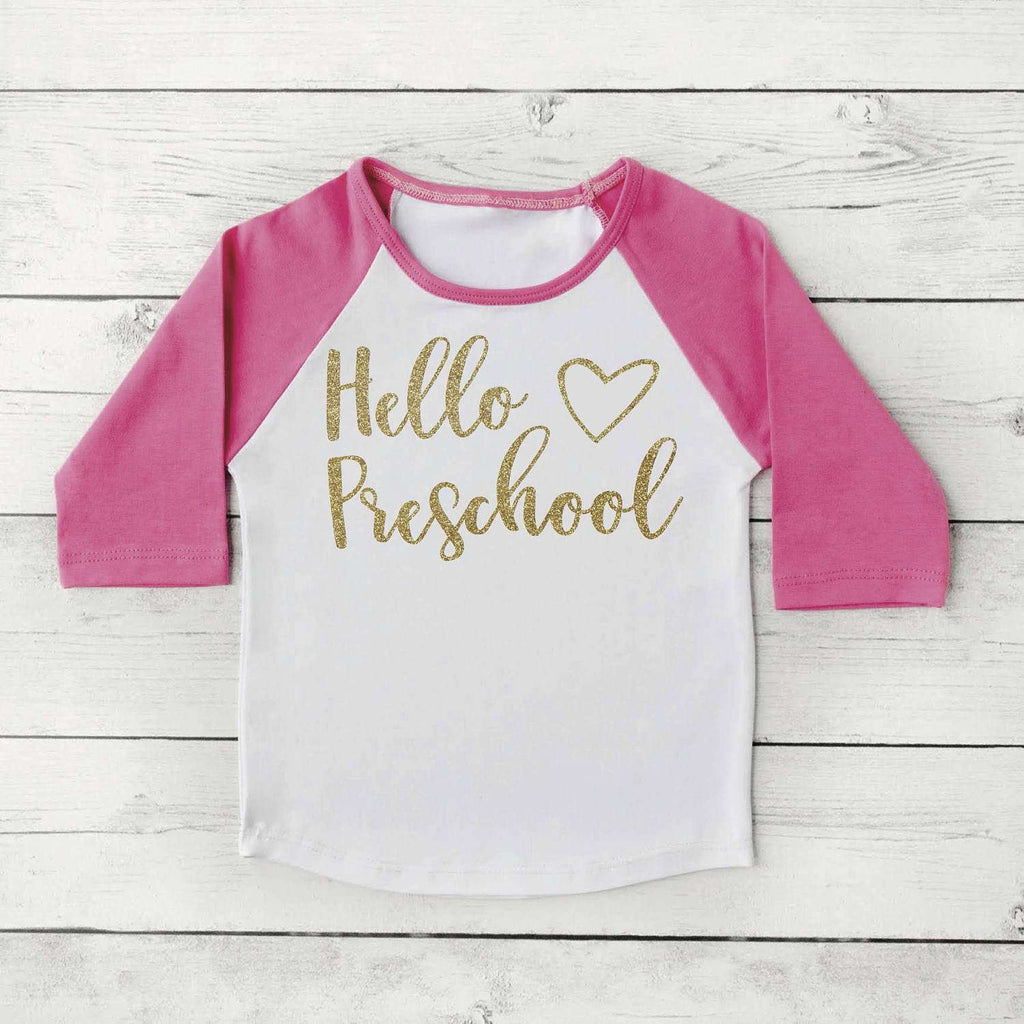 Hello Preschool Shirt, Back to School Clothes for Girls, 1st Day of School Photo Prop 307 - Bump and Beyond Designs