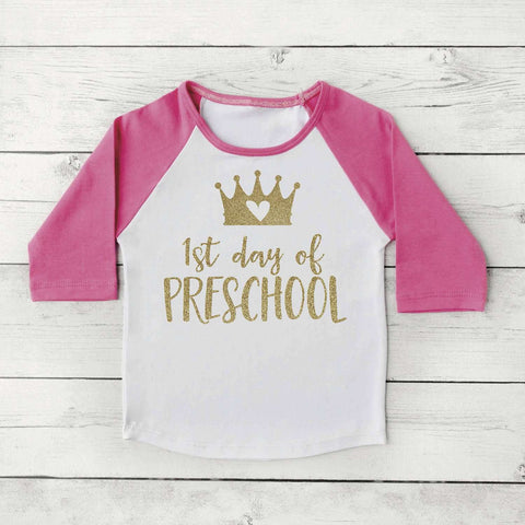 1st Day of Preschool Princess Shirt, Princess Crown, Back to School Clothes for Girls 310