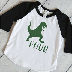 T-Rex Shirt, Dino Birthday Shirt, Fourth Birthday Shirt, Boys Birthday Shirt, Dinosaur Birthday Party Shirt, Green and Black Raglan 316