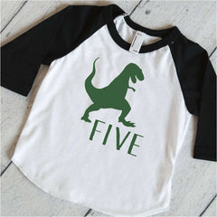 Dinosaur 5th Birthday Shirt, Dinosaur Birthday Shirt, 5 Year Old Dinosaur Shirt, Five Birthday Party Shirt with Dinosaur 316 - Bump and Beyond Designs