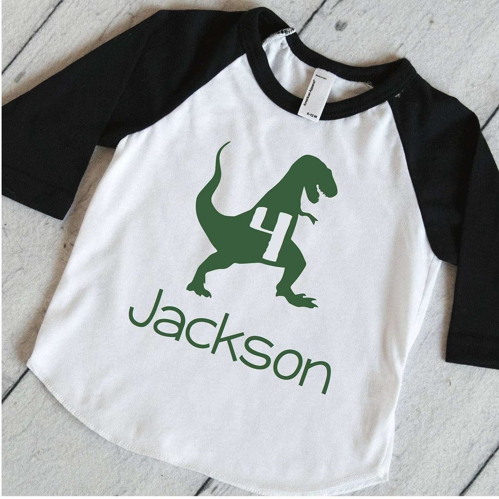Personalized 4th Birthday Shirt, T-Rex Shirt, Dino Birthday Shirt, 4th Birthday Shirt, Boys Birthday Shirt, Dinosaur 4th Birthday Party 323 - Bump and Beyond Designs