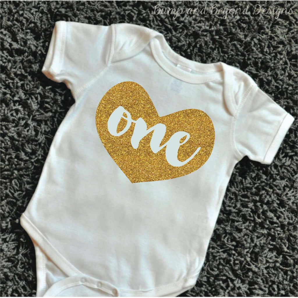 One Year Old Girl First Birthday Shirt Baby Girl Glitter Birthday Outfit Infant Girls Gold Glitter Top One Year Old 1st Birthday Shirt 084 - Bump and Beyond Designs