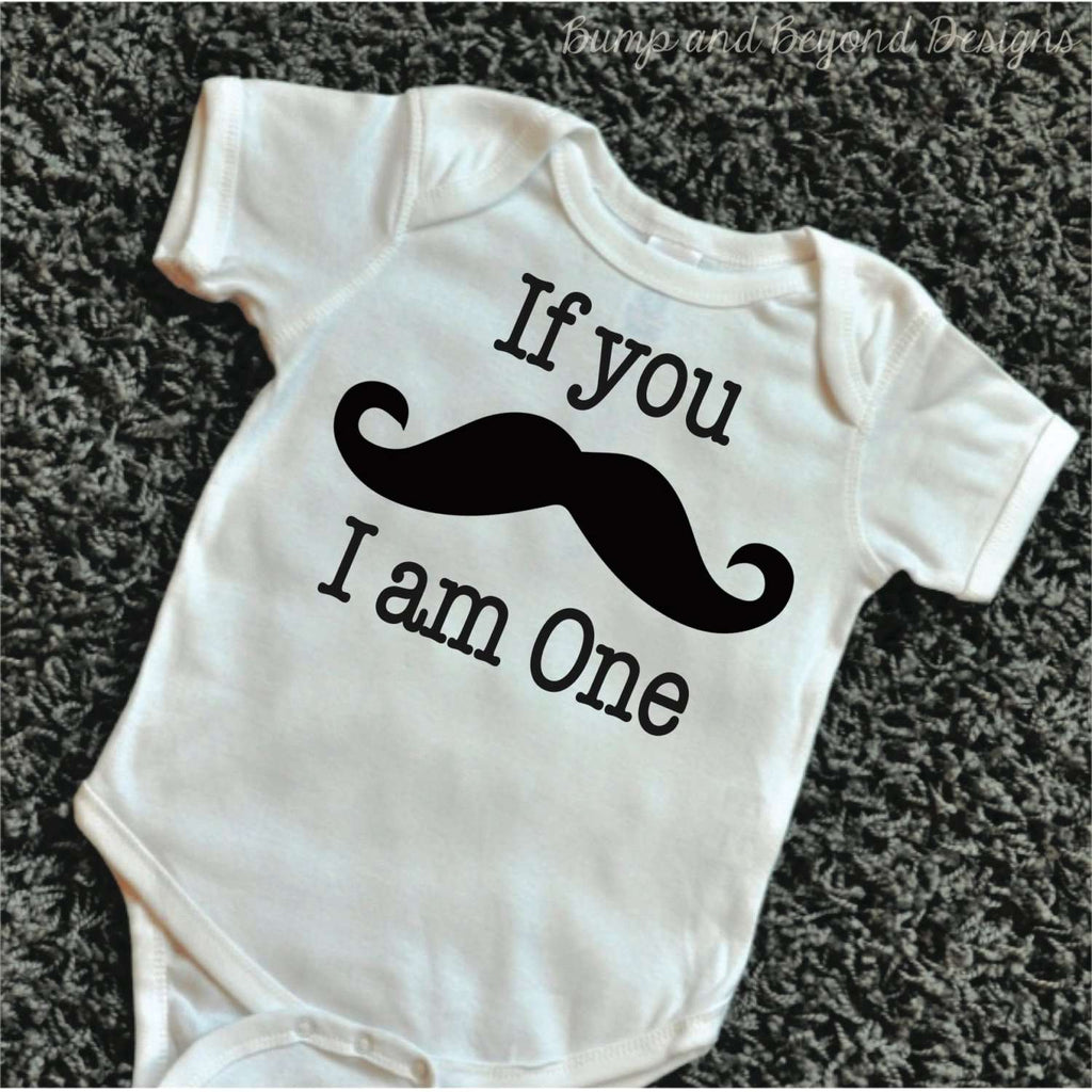 First Birthday Outfit Boy If You Mustache I Am One Shirt