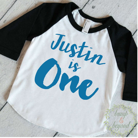 First Birthday Outfit Boy One Year Old Boy Outfit Boy First Birthday Shirt PERSONALIZED Outfit First Birthday Boy Shirt Raglan 091 - Bump and Beyond Designs