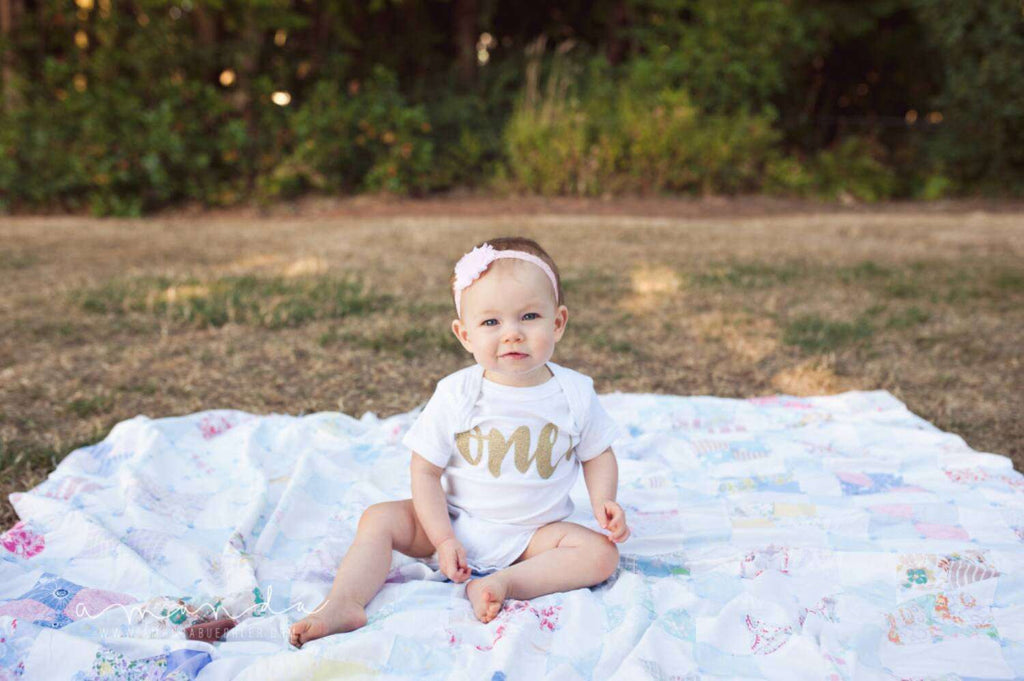 First Birthday Girl Outfit Baby Girl 1st Birthday Outfit Glitter Gold Birthday Shirt Gold First Birthday Cake Smash Outfit 085 - Bump and Beyond Designs