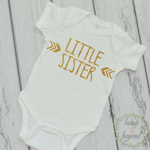 Little Sister Shirt Big Sister Shirt Sibling Shirts Glitter Sister Shirts New Baby Announcement Shirt Photo Prop Sibling Shirt 016 - Bump and Beyond Designs