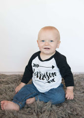 Baby Boy Clothes Personalized Name Shirt Hipster Baby Clothes Arrow Custom Toddler Raglan Shirt Personalized Baby Boy Clothing 086 - Bump and Beyond Designs