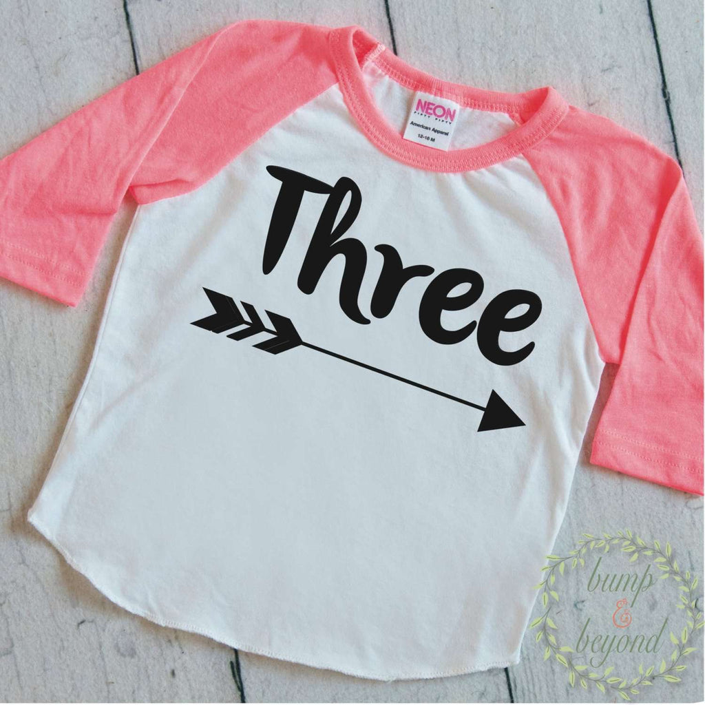 3rd Birthday Girl Shirt, Three, Black or Pink - Bump and Beyond Designs