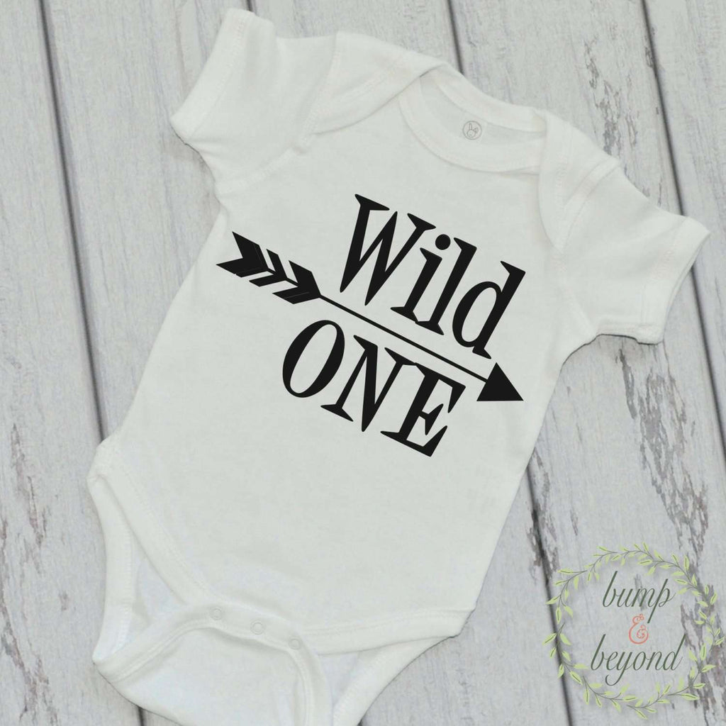Wild One Modern Baby Boy Bodysuit, Solid Arrow - Bump and Beyond Designs