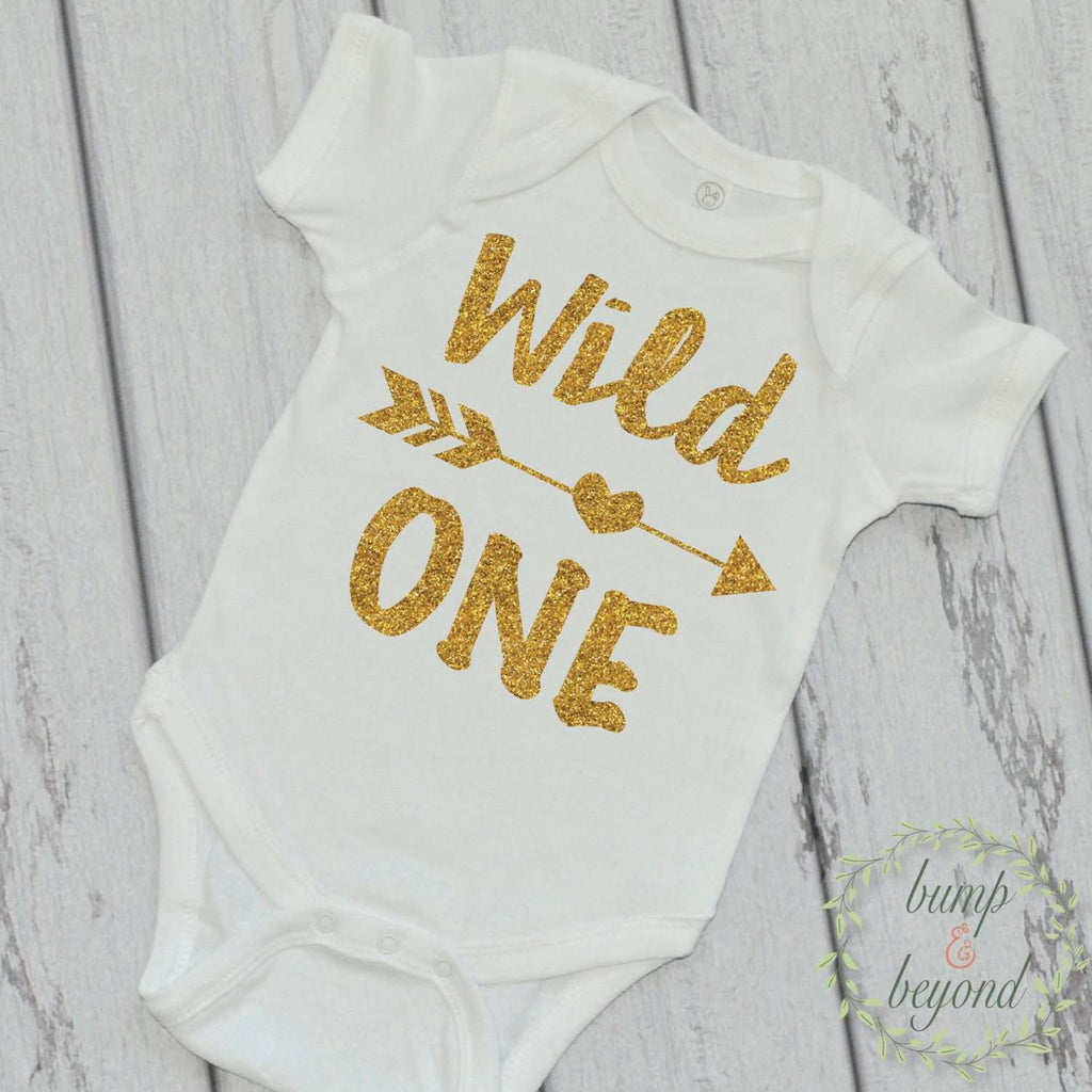 Wild One First Birthday Shirt One Year Old Birthday Shirt Gold Wild One Birthday Outfit 1st Birthday Photo Prop 023 - Bump and Beyond Designs
