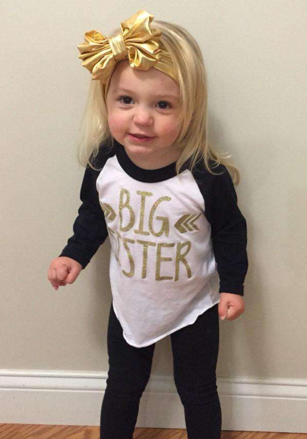 Big Sister Shirt Pregnancy Announcement Shirt Baby Girl Sibling Shirts New Baby Announcement Shirt Big Sister Toddler Raglan 015 - Bump and Beyond Designs