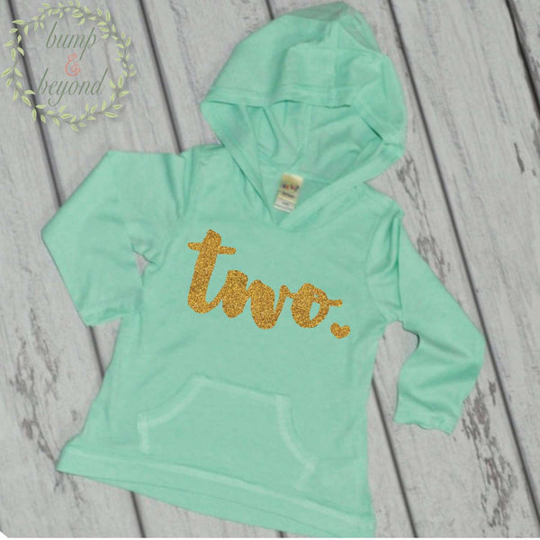 8e9f7dbcc 2nd Birthday Girl Hoodie, Two, Turquoise – Bump and Beyond Designs