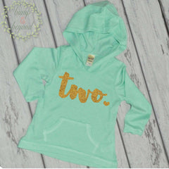 2nd Birthday Girl Hoodie, Two, Turquoise - Bump and Beyond Designs
