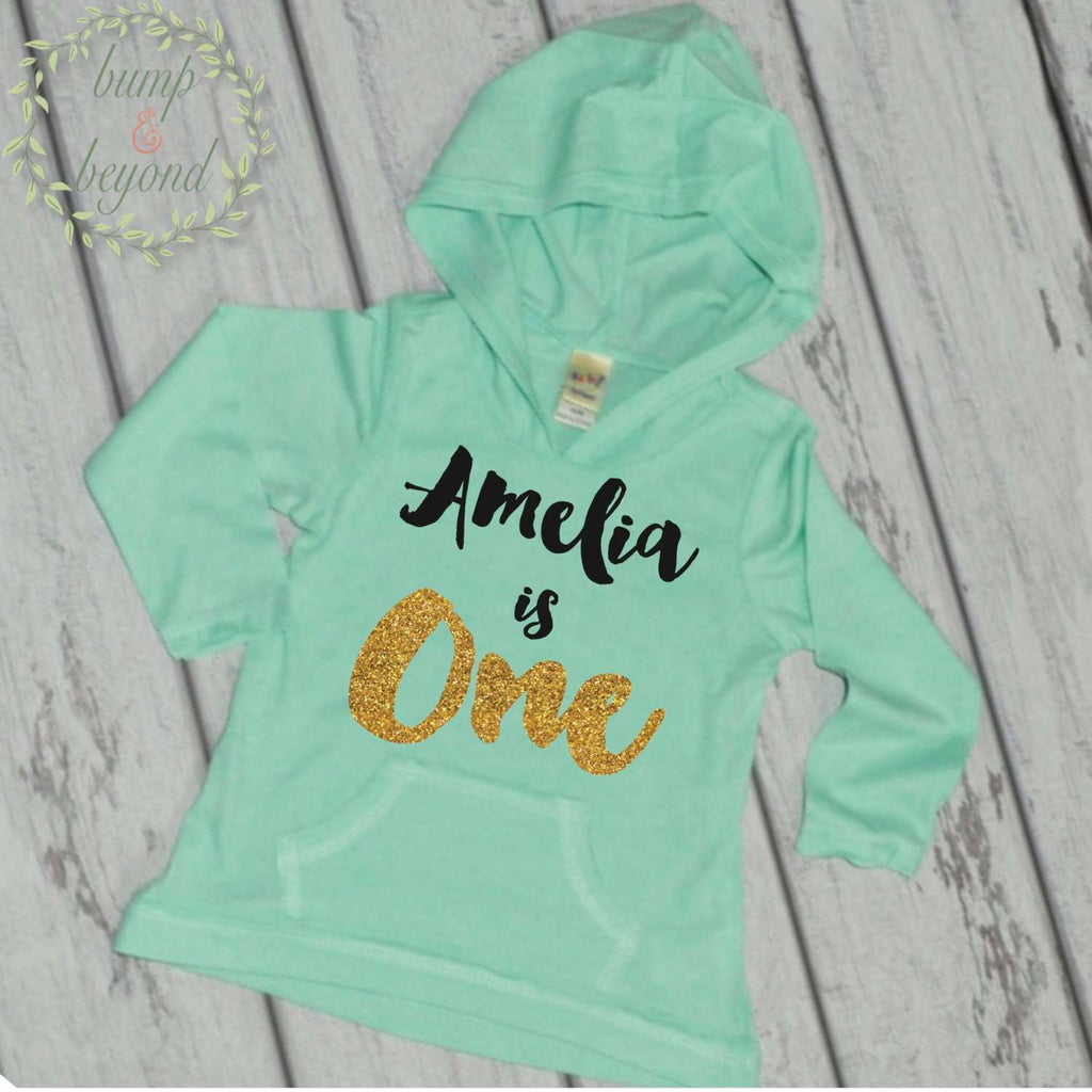 First Birthday Outfit Girl 1st Birthday Shirt Girl 1 Year Old Birthday Shirt Girl One Year Old Birthday Girl Hoodie 1st Birthday Outfit 091 - Bump and Beyond Designs