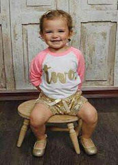 2nd Birthday Girl Shirt, Two, Pink & Gold Lettering - Bump and Beyond Designs
