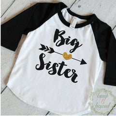 Big Sister Shirt Baby Announcement Shirt Girl Sibling Shirts New Personalized Baby Announcement Shirt Custom Big Sister Raglan 037 - Bump and Beyond Designs