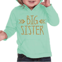 Big Sister Hoodie, Turquoise & Gold Lettering - Bump and Beyond Designs
