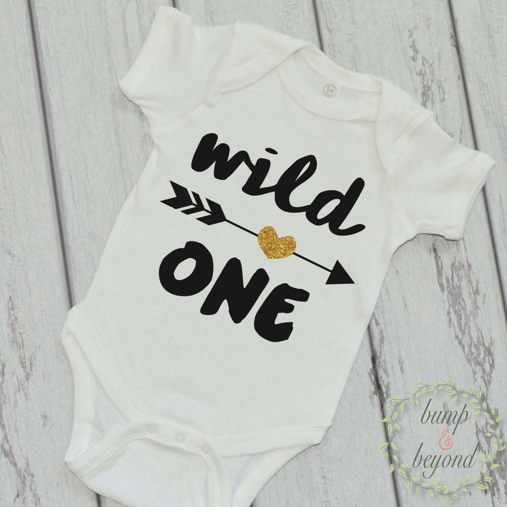 Wild One Shirt Wild One Arrow Shirt Girl Kids Shirt Glitter Arrow Shirt First Birthday Shirt Girl Clothes 048 - Bump and Beyond Designs