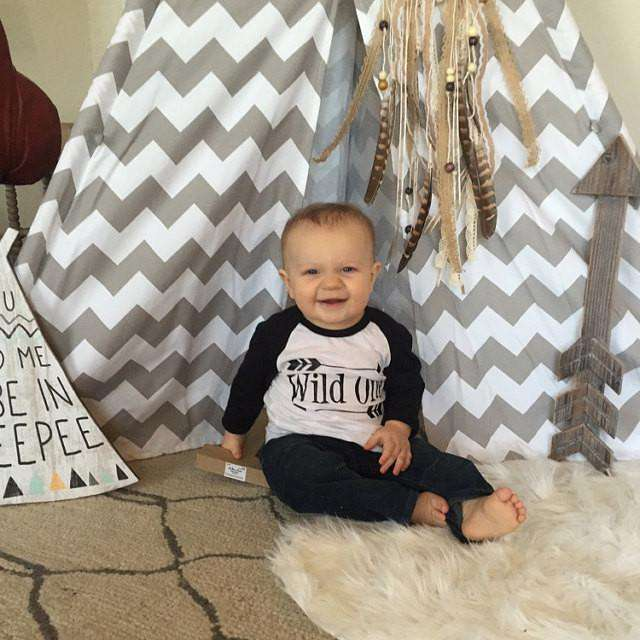 Wild One First Birthday Shirt Boy 1st Birthday Outfit Arrow Hipster Raglan Boy Clothes 025 - Bump and Beyond Designs