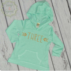 Third Birthday Shirt Girl 3rd Birthday Shirts for Girls Three Year Old Girl Birthday Outfit Hoodie 3rd Birthday Girl Outfit Green Pink 132 - Bump and Beyond Designs