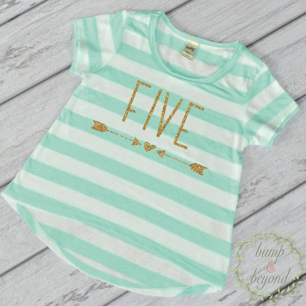 Girl Fifth Birthday Shirt 5 Year Old Birthday Shirt Girl Five Year Old Birthday Girl Outfit Five T-Shirt 5th Birthday Shirt Green 133 - Bump and Beyond Designs