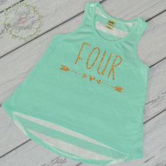 Four Year Old Birthday Girl Shirt 4 Year Old Birthday Shirt Girl Fourth Birthday Shirt Girl 4th Birthday Outfit Girl Green Tank Top 133 - Bump and Beyond Designs