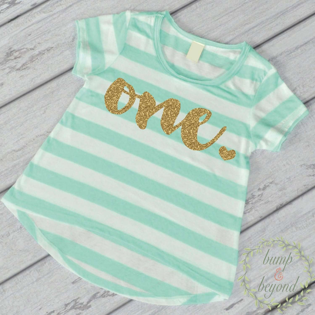 First Birthday Outfit Girl Gold Glitter One Year Old Girl First Birthday Shirt 1st Birthday Girl Outfit Green T-Shirt 102 - Bump and Beyond Designs
